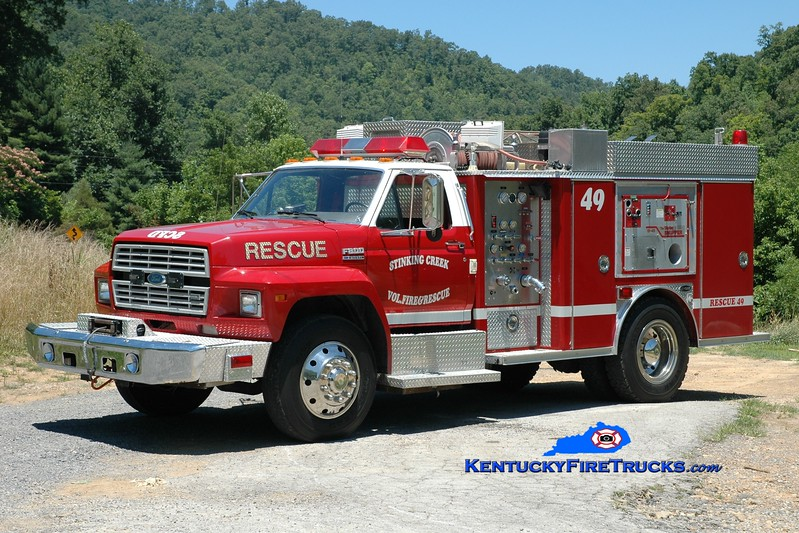 <center> Stinking Creek  Rescue 49 <br> x-Central Twps, OH <br> 1991 Ford F-800/E-One 250/300 <br> Greg Stapleton photo </center>