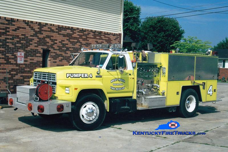 <center> RETIRED <br> West Knox  Pumper 4  <br> 1981 Ford F-800/FMC 1000/750 <br> Greg Stapleton photo </center>