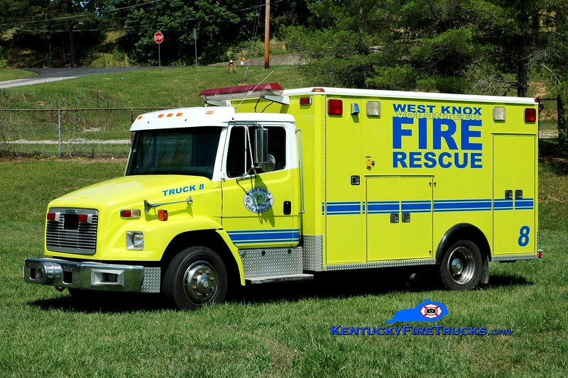 <center> West Knox  Truck 8  <br> x-Knox County EMS <br> 1996 Freightliner FL70/Wheeled Coach  <br> Greg Stapleton photo </center>