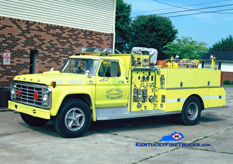 <center> West Knox  Rescue 1  <br> Reassigned as Pumper 1 <br> 1974 Ford F-750/FMC-Bean 750/500 <br> Greg Stapleton photo </center>