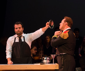 Nemorino (Joshua Collier) and Belcore (Christopher Holmes)