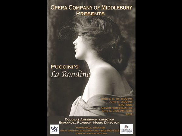A lyrical comedy in three acts    Opus 29<br /> <br /> Music by Giacomo Puccini<br /> Libretto by Giuseppe Adami after Dr. A. M. Willner and Heinz Reichert<br /> <br /> <br /> Artistic Director - Douglas Anderson<br /> Music Director – Emmanuel Plasson<br /> Assistant Music Director – Carol Christenson<br /> Production/Stage Manager - Mary Longey<br /> Set Designer - Douglas Anderson<br /> Lighting Designer – Evan Purcell<br /> Costume Designer - Debra Anderson<br /> Co-Technical Directors – Bill Friml and Elinor Steel Friml<br /> Company Manager/Super Titles Operator – Alora Kelley<br /> Assistant Stage Manager – Amanda Cheever<br /> Stage Technician – Dora Greven<br /> Props/Furniture – Lorraine Kimble and Kate Tilton<br /> Production Assistant – Gale Hurd<br /> Hair Design – Venus Junchalong<br /> Make-Up Design – Michelle Trudeau<br /> Rehearsal Pianists – Michael Sheetz and Greg Vitercik<br /> Lighting Assistant/Board Operator – Matt Stanley<br /> Spotlight Operators – Zac Young and Adam Joselson<br /> Crew – Nate Joselson<br /> Costume Assistants – Cindi Duff, Robin Huestis, Nancy Malcolm<br /> Set Construction/Decorations – Peter Dempewolff, Tom Noble, Jamie Bolton, John Ewen, Paul Crosby, Bart Healy, Eric Sherwin, Guy Mango<br /> Supertitle Assistance – J. Scott Morrison and Gale Hurd<br /> Photography – Max Kraus and Marian Wright<br /> Publicity – Lorraine Kimble and David Clark<br /> Ad Sales/Corporate Memberships – Krissa Bolton, Carol Miller, Tom Jones, Marian Wright<br /> Program – Marian Wright and Mary Longey<br /> Program Cover/Poster & Postcard – Debra Anderson<br /> Refreshments – OCM Guild<br /> Webmaster – Fran Delphia<br /> <br /> <br /> Town Hall Theater, Middlebury, Vermont<br /> June 3, 5 (matinee), 6 (performance by understudy cast), 8, and 10, 2011