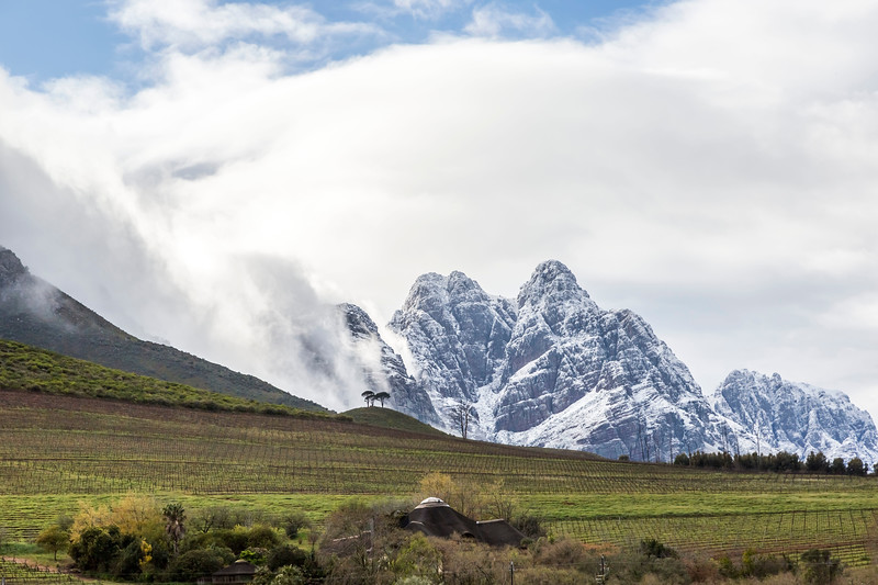 Snow on Mountains in Stellenbosch