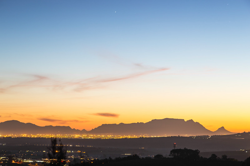 Table Mountain after Sunset from Stellenbosch