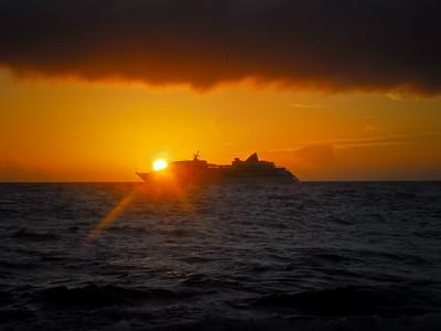 Cruise ship and Kailua-Kona sunset. Big Island Hawaii, January, 2012.