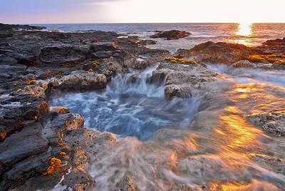 Reef puka near NELHA shot at sunset. Big Island Hawaii, January, 2012.
