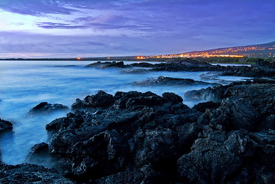 Long exposure of Honokohou coastline at sunset. Big Island Hawaii, May 2011.