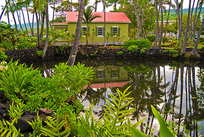 The historic Hale and pond at  Keauhou Beach Resort. Big Island Hawaii, May, 2011.