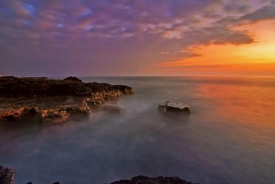 Long exposure of Kona sunset. Big Island Hawaii, February 2012.