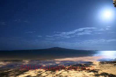 Rangitoto Island, Auckland, lit up by the moon.