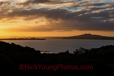 Sunset over Auckland, from Waiheke II