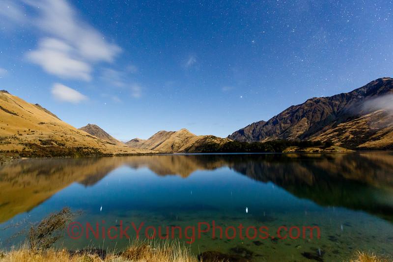 Moonlit scenery at Moke Lake