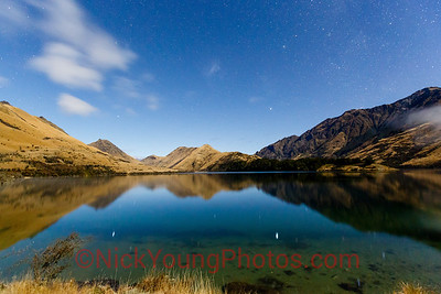 Moonlit scenery at Moke Lake