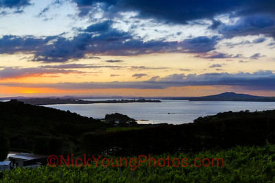 Sunset over Auckland, from Waiheke