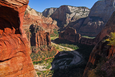 A view of the Virgin River from Angel's Landing trail in Zion National Park. Utah, October 2011.