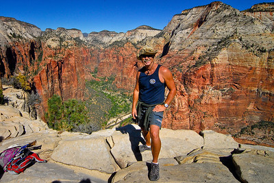 Mark on the summit of  Angel's Landing at Zion National Park. Utah, October 2011.