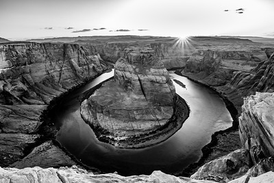 Horseshoe Bend Sunset B&W
