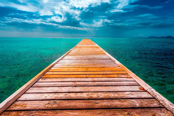 Dock in Mustique island.