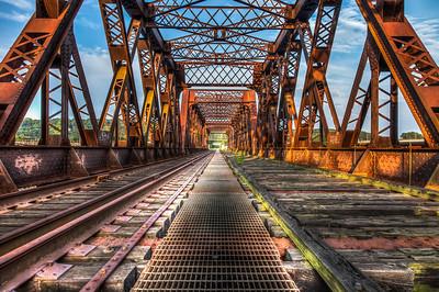 Rusty train bridge in Shelton, CT.