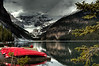 Red Canoes at Lake Louise Canada