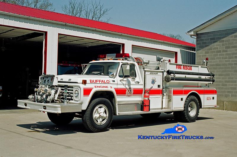 <center> Buffalo  Engine 3 <br> 1977 Ford F-800/FMC-Bean 750/750 <br> Kent Parrish photo </center>