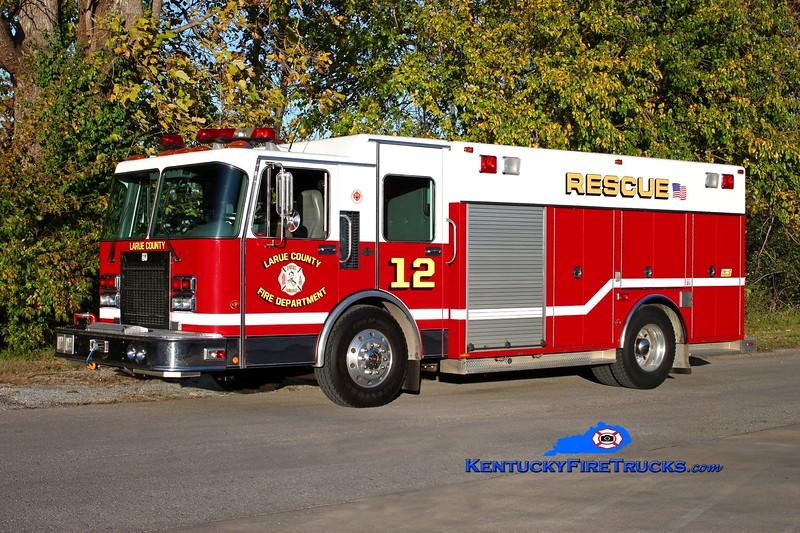 <center> Larue County  Rescue 12 <br> x-Pinetop, AZ <br> 1995 Spartan Advantage/SVI 500/300 <br> Kent Parrish photo </center>