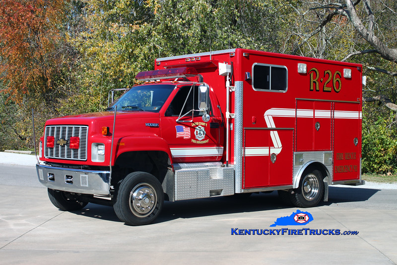 <center> RETIRED <br> Larue County  Rescue 26 <br> 1991 Chevy Kodiak/Frontline/2006 Wynn <br> Kent Parrish photo </center>