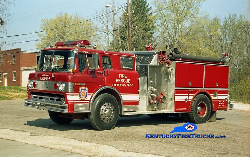 <center> RETIRED <br> Larue County  Engine 2 <br> 1986 Ford C-8000/Grumman 1250/1000 <br> Kent Parrish photo </center>
