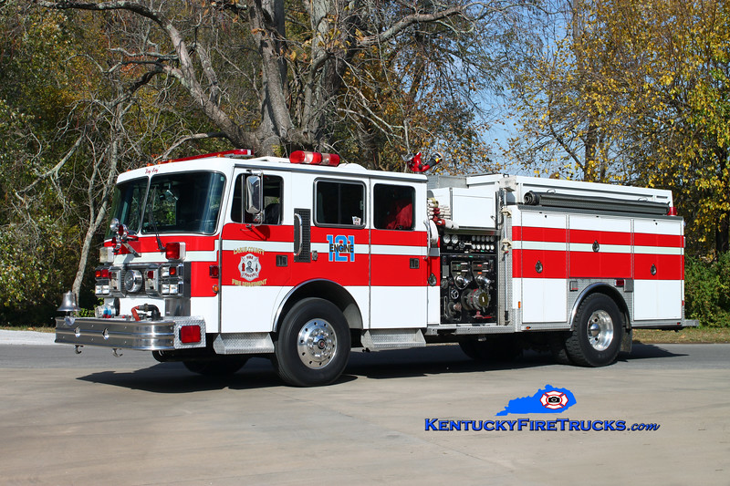 <center> Larue County  Engine 121 <br> x-Earleigh Heights, MD <br> 1993 Pemfab Imperial/Ranger 1500/830 <br> Kent Parrish photo </center>