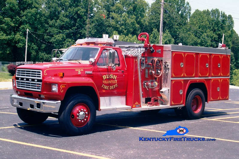 <center> RETIRED <br> Bush  Engine 5 <br> 1984 Ford F/American-Collins 750/750 <br> Greg Stapleton photo </center>