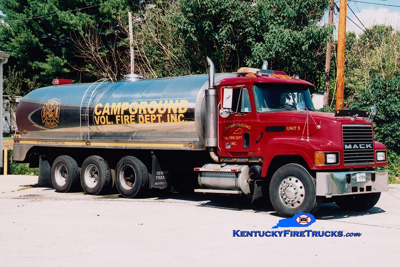 <center> RETIRED <br> Campground  Tanker 5 <br> 1995 Mack CH/Walker 0/5600 <br> Greg Stapleton photo </center>