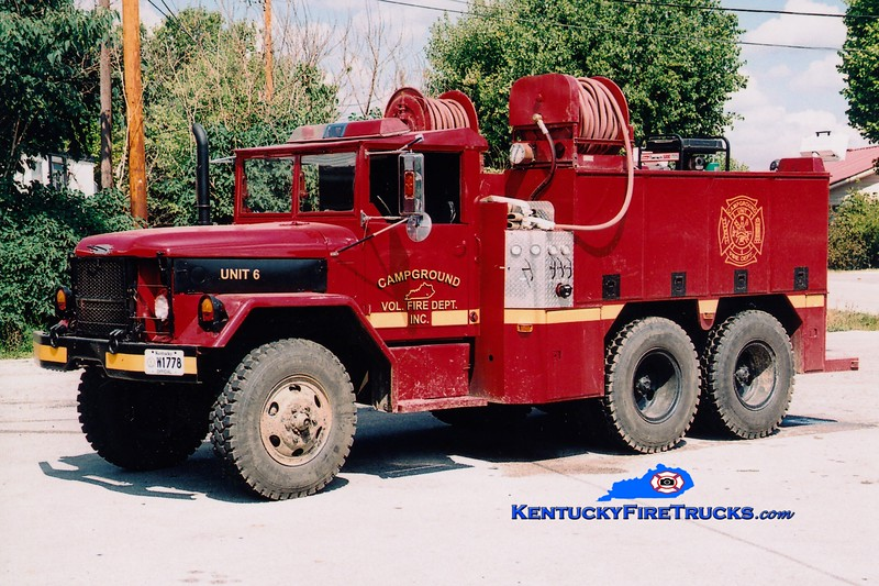 <center> RETIRED <br> Campground  Brush 6 <br> x-US Army <br> 1977 AM General M49 6x6/FD 250/300 <br> Greg Stapleton photo </center>