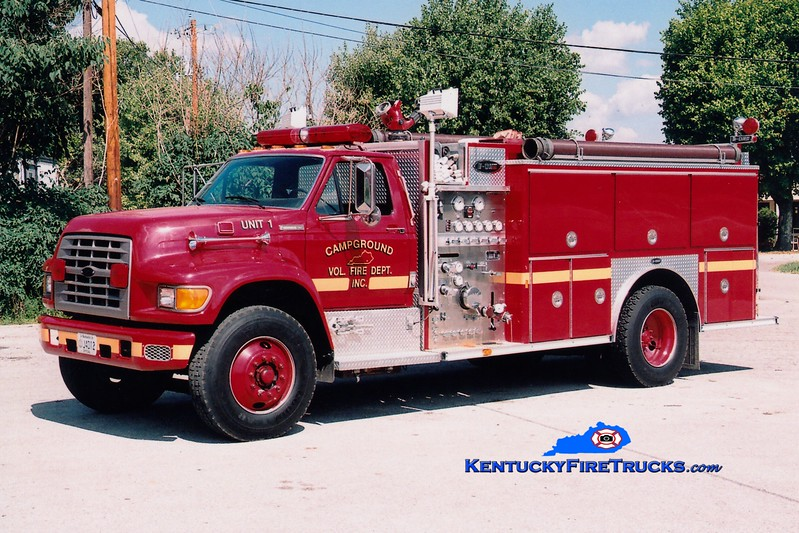 <center> Campground  Engine 1 <br> 1995 Ford F-800/E-One 1250/1000<br> Greg Stapleton photo </center>