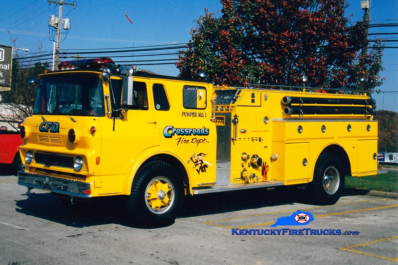 <center> RETIRED <br> Crossroads  Pumper 1 <br> x-Lapel, IN; North Jessamine, KY <br> 1975 GMC/Howe 750/750 <br> Greg Stapleton photo </center>