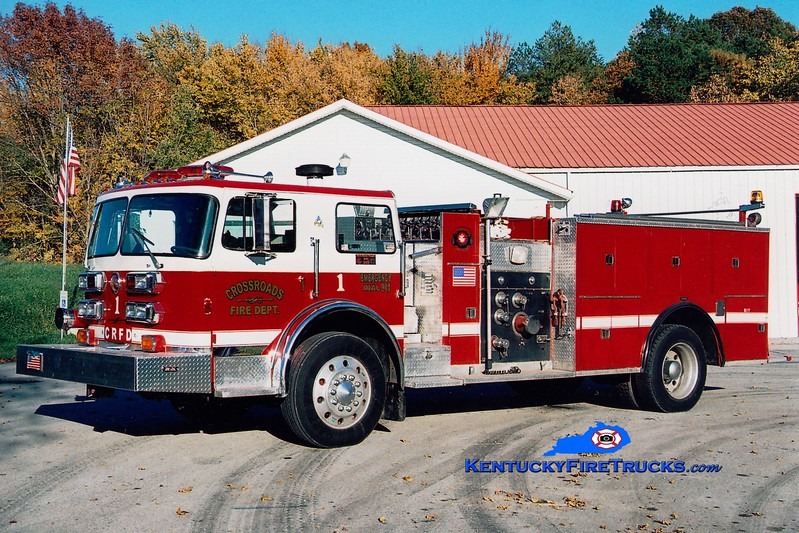 <center> RETIRED <br> Crossroads  Engine 1 <br> x-Wayne Twp, IN; Glencoe, KY; Swiss Colony, KY; East Bernstadt, KY <br> 1976 Pemfab/Pierce 1250/1000 <br> Greg Stapleton photo </center>