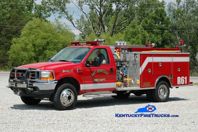 RETIRED<br /> East Bernstadt  Rescue 61<br /> 2001 Ford F-550 4x4/Pierce 750/300<br /> Greg Stapleton photo