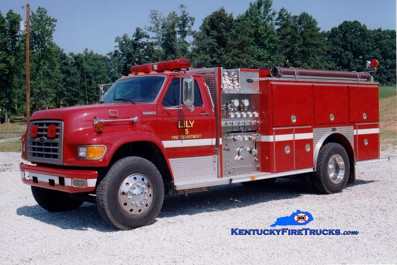 <center> RETIRED <br> Lily  Engine 5125 <br> 1994 Ford F-800/E-One 1250/1000 <br> Greg Stapleton photo </center>