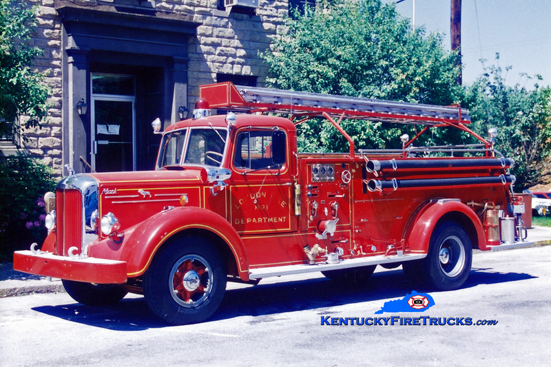 <center> NO LONGER IN SERVICE <br> London  Engine 1 <br> 1952 Mack LS 750/250 <br> Greg Stapleton photo </center>