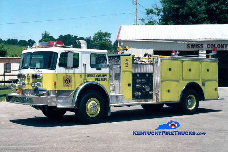 <center> RETIRED <br> Swiss Colony Engine 2 <br> x-Wayne Twp, IN; Glencoe, KY <br> 1976 Pemfab/Pierce 1500/1000/60 <br> Greg Stapleton photo </center>