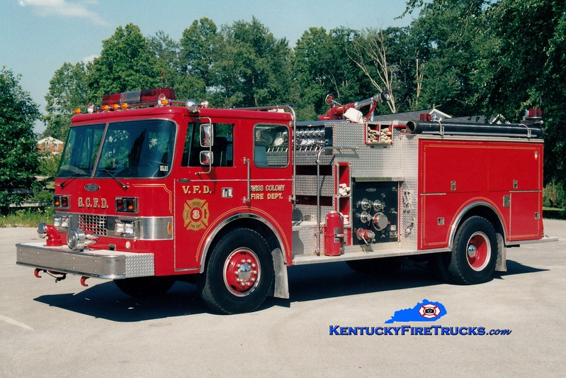 <center> RETIRED <br> Swiss Colony  Engine 3 <br> x-Fairview, PA <br> 1983 Pierce Dash 1500/750 <br> Greg Stapleton photo </center>