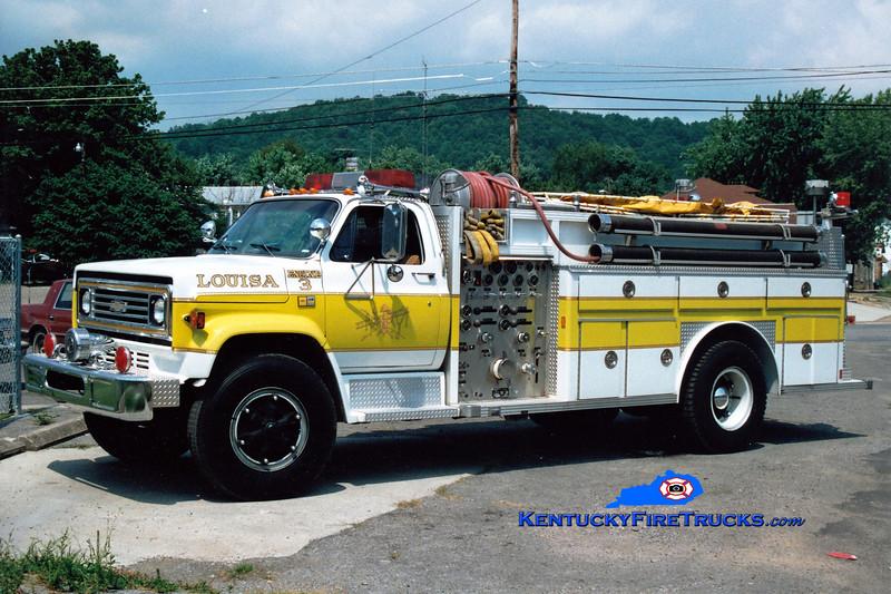 <center> RETIRED <br> Louisa  Engine 3  <br> 1981 Chevy/E-One 1000/1000 <br> Greg Stapleton photo </center>