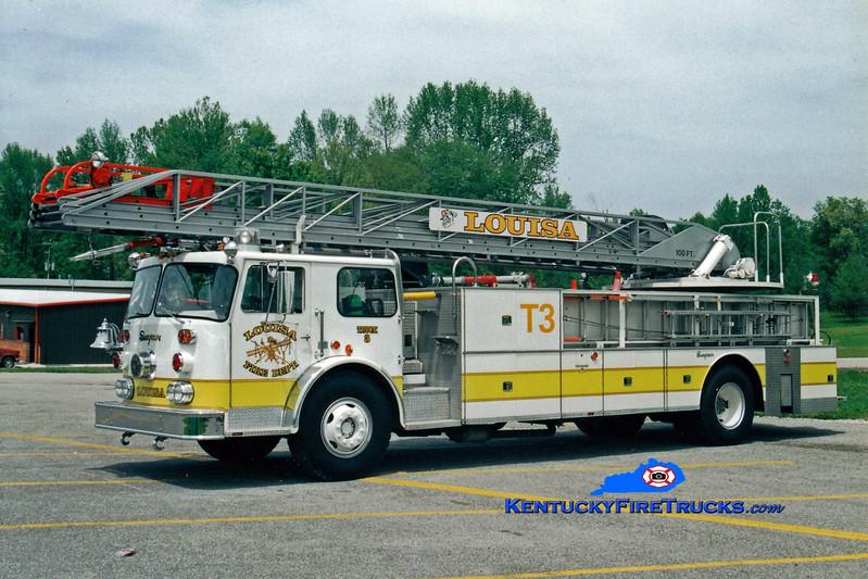 <center> RETIRED <br> Louisa  Truck 3  <br> x-Cheektowga, NY <br> 1976 Seagrave SR 100'  <br> Greg Stapleton photo </center>
