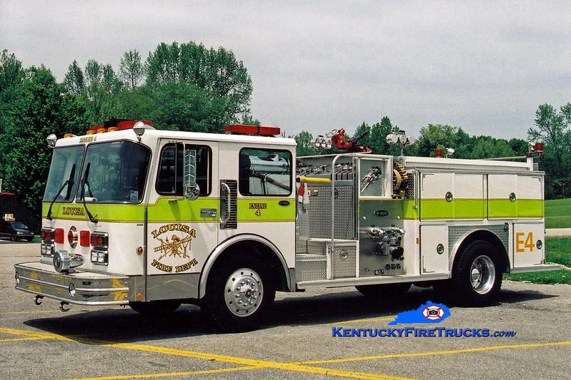 <center> Louisa  Engine 4  <br> 1988 Spartan Monarch/E-One  1500/500 <br> Greg Stapleton photo </center>