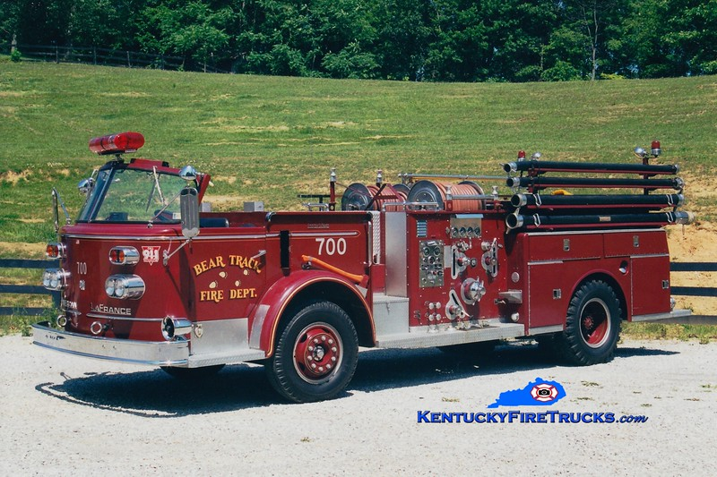 <center> Bear Track  Engine 715  <br> x-Lehighton, PA <br> 1967 American LaFrance 900 Series 1000/500  <br> Greg Stapleton photo </center>