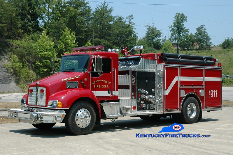 <center> Beattyville  Engine 300  <br> 2007 Kenworth T-300/Pierce 1250/1000 <br> Greg Stapleton photo <br> </center>