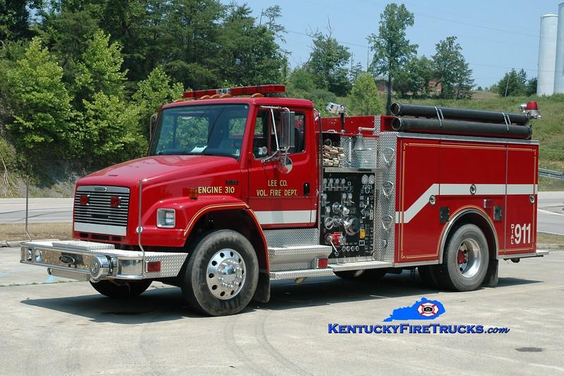 <center> Lee County  Engine 310  <br> 2000 Freightliner FL70/Pierce 1500/1000 <br> Greg Stapleton photo <br> </center>