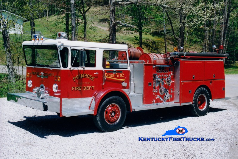 <center> RETIRED <br> Primrose  Engine 92  <br> x-High Ridge, MO <br> 1971 American LaFrance Pioneer 1000-750 <br> Greg Stapleton photo <br> </center>