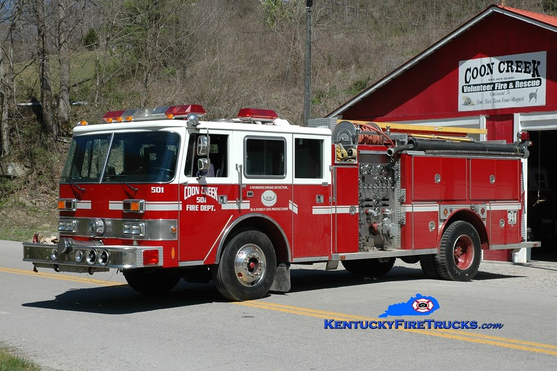 Coon Creek  Engine 501<br /> x-Okolona, KY and Northern Pendleton, KY <br /> 1984 E-One/1989 Pierce Arrow 1500/750<br /> Greg Stapleton