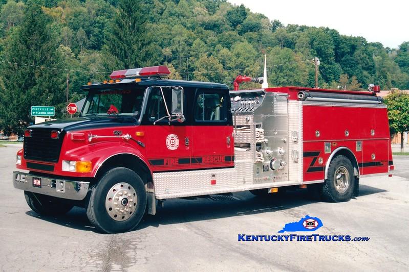 <center> RETIRED <br> Jenkins  Engine 5 <br> 1998 International 4900/KME 1250/1000 <br> Greg Stapleton photo <br> </center>