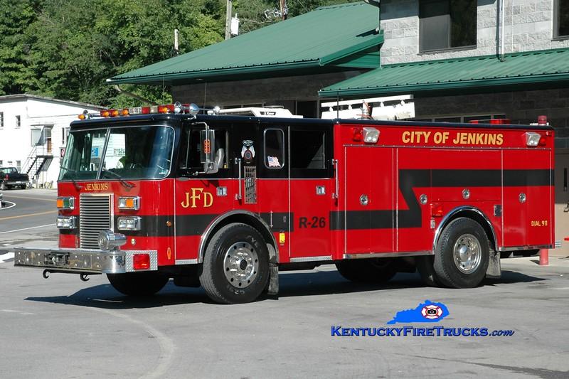 <center> RETIRED <br> Jenkins  Rescue 26 <br> x-Klein, TX <br> 1989 Pierce Lance <br> Greg Stapleton photo <br> </center>